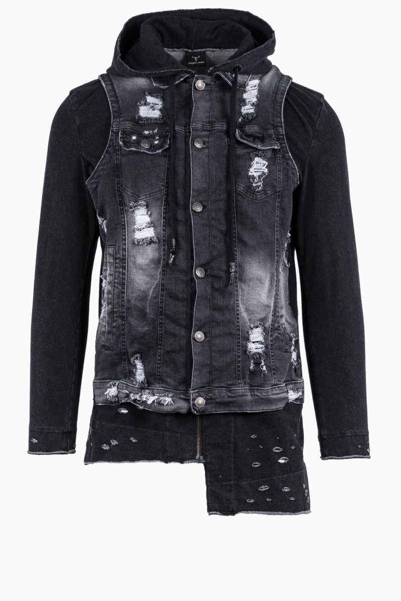 XAGON MAN ASYMMETRIC DENIM JACKET