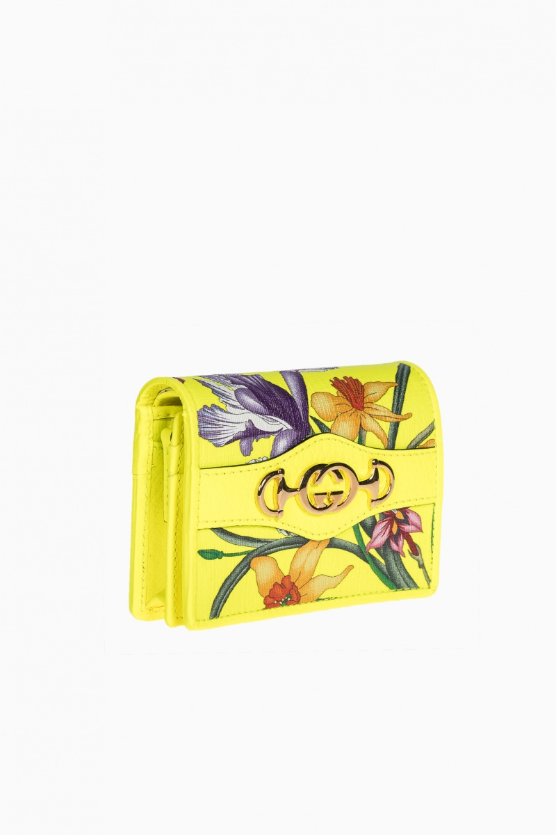 GUCCI YELLOW SUPREME CANVAS FLORAL WOMAN WALLET