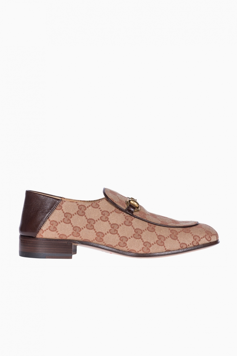 LOAFERS MAN GUCCI LEATHER WITH GG CANVAS